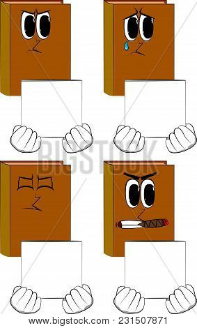 Books Holding White Box. Cartoon Book Collection With Angry And Sad Faces. Expressions Vector Set.