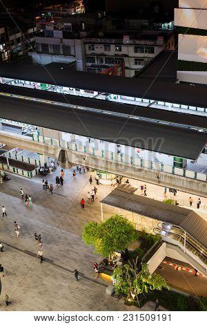 Bangkok, Thailand - March 7, 2018 : Sky Train Top View From Emquartier Mall In Bangkok