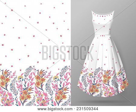 Cute Pattern In Small Flowers And Herbs. Seamless Vertical Background. An Example Of The Pattern Of