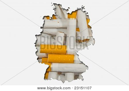Outline Map Of Germany With Cigarettes In Background
