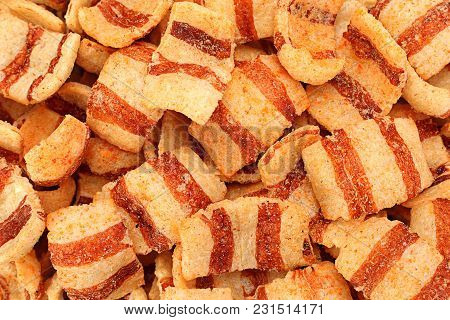 Pelleted Salted Snack Bacon Closeup Detail Background