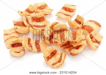 Pelleted Salted Snack Bacon Isolated On White Background