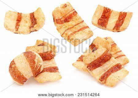 Pelleted Snack Bacon Set Isolated On White Background