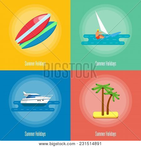 Summer Holidays Vector Illustration. Colorful Surfboards On Beach. Seascape With Speedboat, Tropical