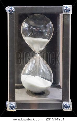 Sandglass Or Sand Watch As Time Passing Concept For Business Deadline, Urgency And Running Out Of Ti