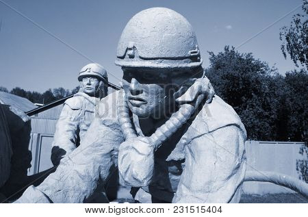 Monument to the dead firefighters during fire extinguishing at the Chernobyl nuclear power station.Chernobyl Exclusion Zone.May 19, 2017.Kiev region.Ukraine