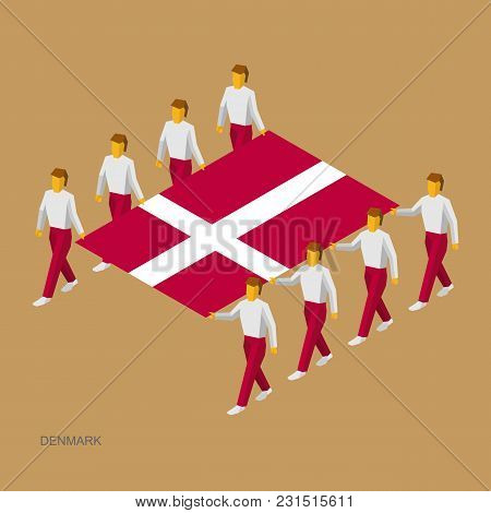 Eight People Hold Big Flag Of Denmark. 3d Isometric Standard Bearers. Danish Sport Team. Simple Vect