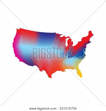 Modern Usa Map Vector Illustration Template Element