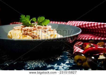 tasty Carbonara pasta on the table