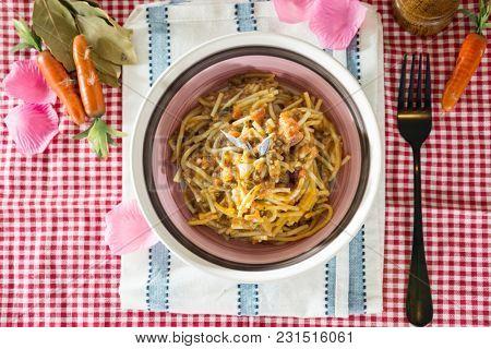 tasty pasta Italian tomato sauce pasta on the table