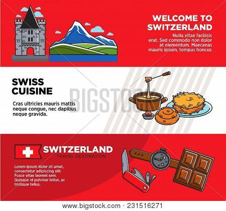 Welcome To Switzerland Promotional Travel Company Banners Set. Picturesque Nature, Unic Architecture