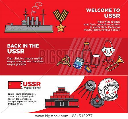 Welcome Back In Ussr Promotional Posters Set In Red Colors. Huge Warship, St. George Ribbon, Pioneer
