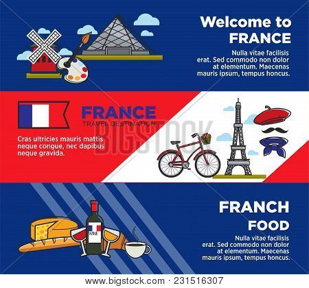 France Travel Destination Advertisement Banners With Unique Architecture And Food. Exquisite French