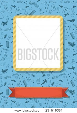 Retro Greeting Card. Vintage Gray Items - Boots, Mustaches, Eyeglasses, Letters And Other. Yellow Fr