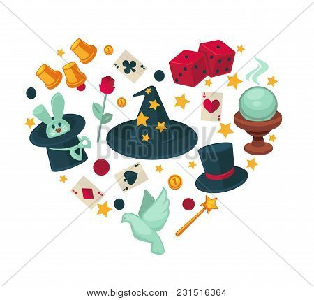 Equipment For Magic Show In Heart Shape. Cone Magician Hat, Classic Cylinder, White Dove, Cute Rabbi