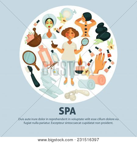 Spa Procedures Promotional Poster With Beautician And Clients. Massage With Hot Stones And Aromatic
