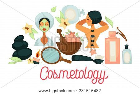 Cosmetology Promotional Poster With Female Clients That Enjoy Procedures. Massage With Hot Stones, N