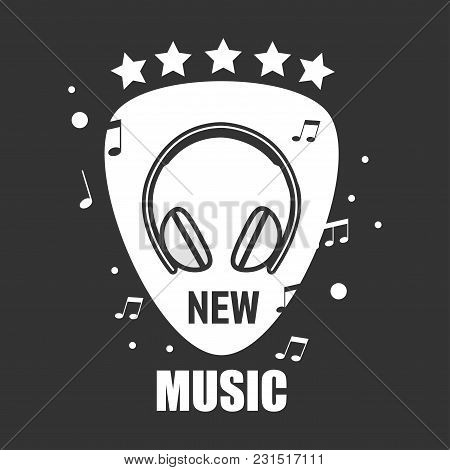 New Music Promotional Emblem With Modern Headphones, Music Notes And Small Stars. Popular French Son