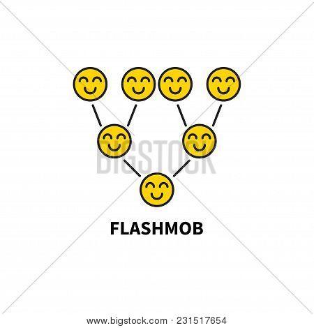 Icon Flashmob, Flash Mob. Smiling Smileys, Multilevel Marketing Scheme, Viral Advertising, Add Vecto