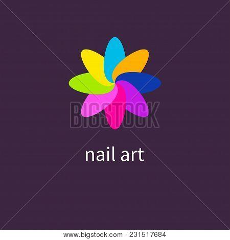 Manicure Salon. Art Nails, Colored, Colorful Nail Polish Vector Illustration