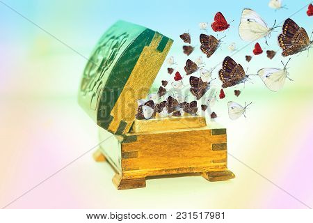 Old Wooden Box With Open Lid, From Which Fly Butterflies, The Concept Of Freedom
