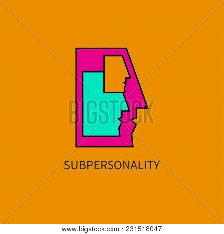 Subpersonality. Man With Personality Parts Inside. Vector Illustration