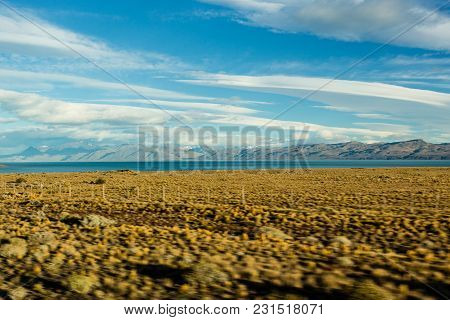 Vast Plains On A Partially Cloudy Day In Patagonia, Argentina.