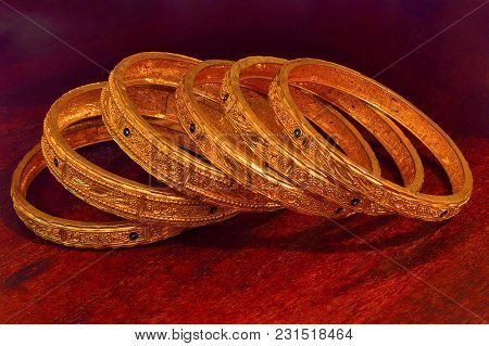 Close View Of Golden Bangles At Pune