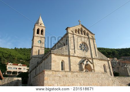 SMOKVICA, CROATIA - MARCH 21: Church of Blessed Virgin of Purification in Smokvica, Korcula island, Croatia, on March 21, 2017.