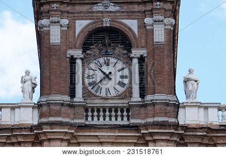 MODENA, ITALY - JUNE 04: Clock Tower, Ducal Palace now Italian Military Academy., Modena, Italy on June 04, 2017.
