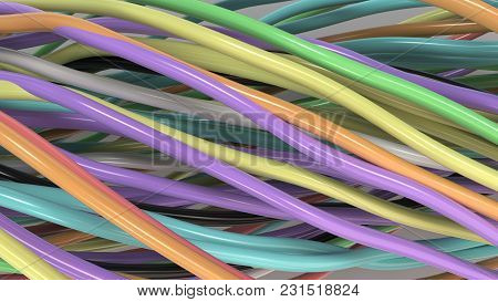 Twisted Multicolored Cables And Wires On White Surface