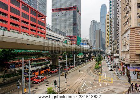 Hong Kong - November 25, 2017: The Viaduct On Hong Kong Street
