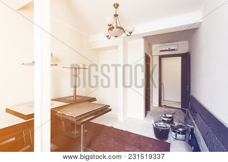 Interior Of Room In Apartment Is Prepearing To Construction, Remodeling, Renovation, Extension, Rest