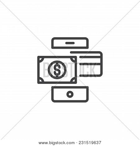 Mobile Phone With Dollar Money And Credit Card Outline Icon. Linear Style Sign For Mobile Concept An