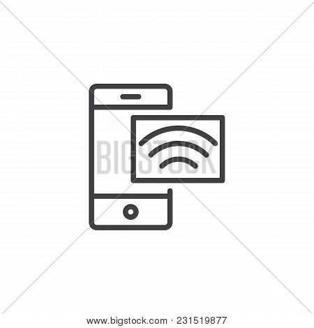 Mobile Phone And Wireless Network Outline Icon. Linear Style Sign For Mobile Concept And Web Design.