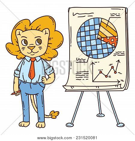 Lion Teacher With A Board On A Tripod. Vector Illustration.
