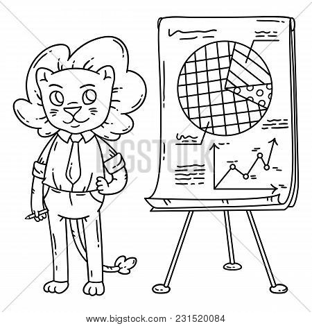 Lion Teacher With A Board On A Tripod. Vector Illustration. Coloring Page.