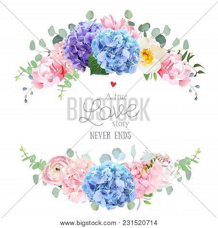 Wedding Banner Card. Violet, Blue And Purple Hydrangea, Pink Rose, Ranunculus, Carnation, White Peon