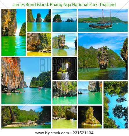 The James Bond Island At The Phang Nga National Park In Thailand. Collage