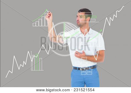 Digital composite of man drawing graphs on the screen
