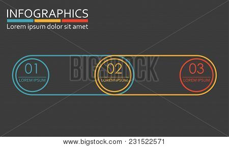 Infographics Template With 3 Steps, Options, Stages Or Levels. Vector Illustration.