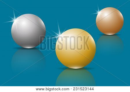 Golden, Silver And Bronze 3d Spheres. Three Glossy Spheres With Reflection In A Glass Surface. Vecto