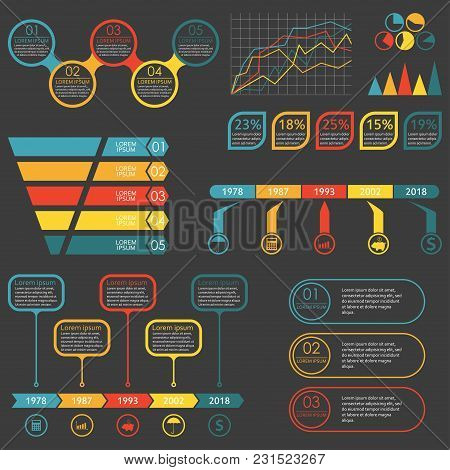 Infographics Elements Set. Funnel, Graph, Chart, Arrows. Infographics With 5 Or 3 Steps, Levels, Opt