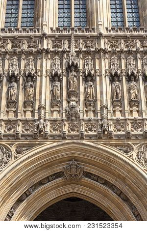 Palace Of Westminster, Parliament, Facade, London,united Kingdom, England.  The Palace Lies On The N