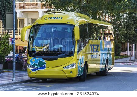 Spain, Blanes - September 20, 2017: Bus Of The Tourist Company Tez Tour In The Parking Lot Near The