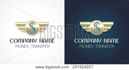 Fast Money Transfer Vector Logo, Icon. Template Design Element With Dollar Sign For Global Cash Mone