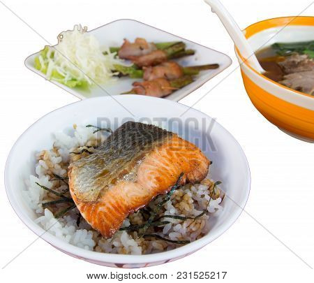 Delicious Grilled Mackerel Fish On Rice . Japanese Food