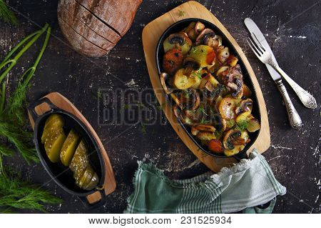 Ried Potatoes With Mushrooms And Pickled Cucumber