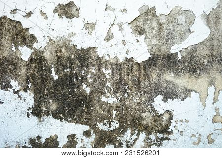 Damaged Wall Outside The Building With Dirty Skin Surface For Background Texture