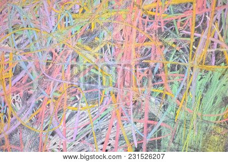 A Messy Drawing Of Colorful Chalks On The Backboard For Vivid Background Texture